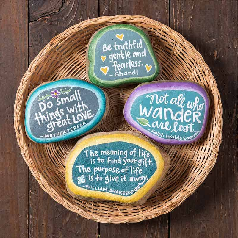 How to paint rocks with quotes