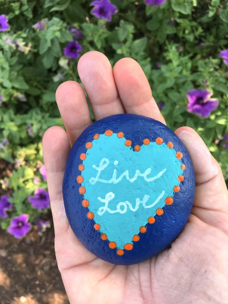 Live love friendship rocks - blue with a aqua blue painted heart and orange dots
