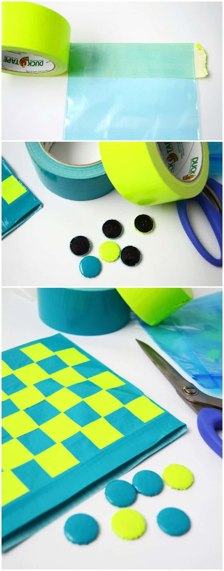 This travel DIY checkers game is so easy to make with Duck Tape! You probably already have the supplies in your home. Kids will love it!