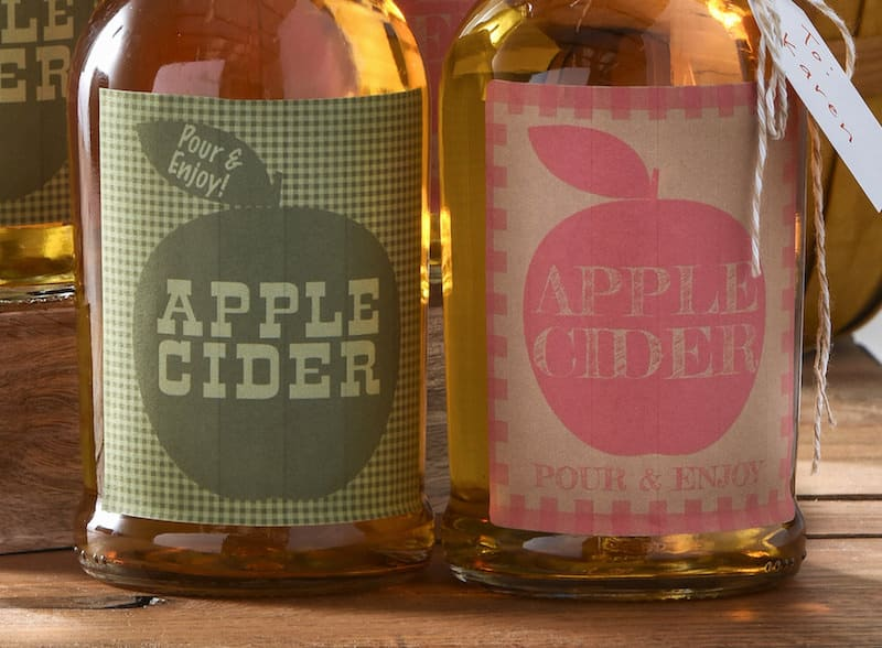 Apple cider bottles printable gift labels