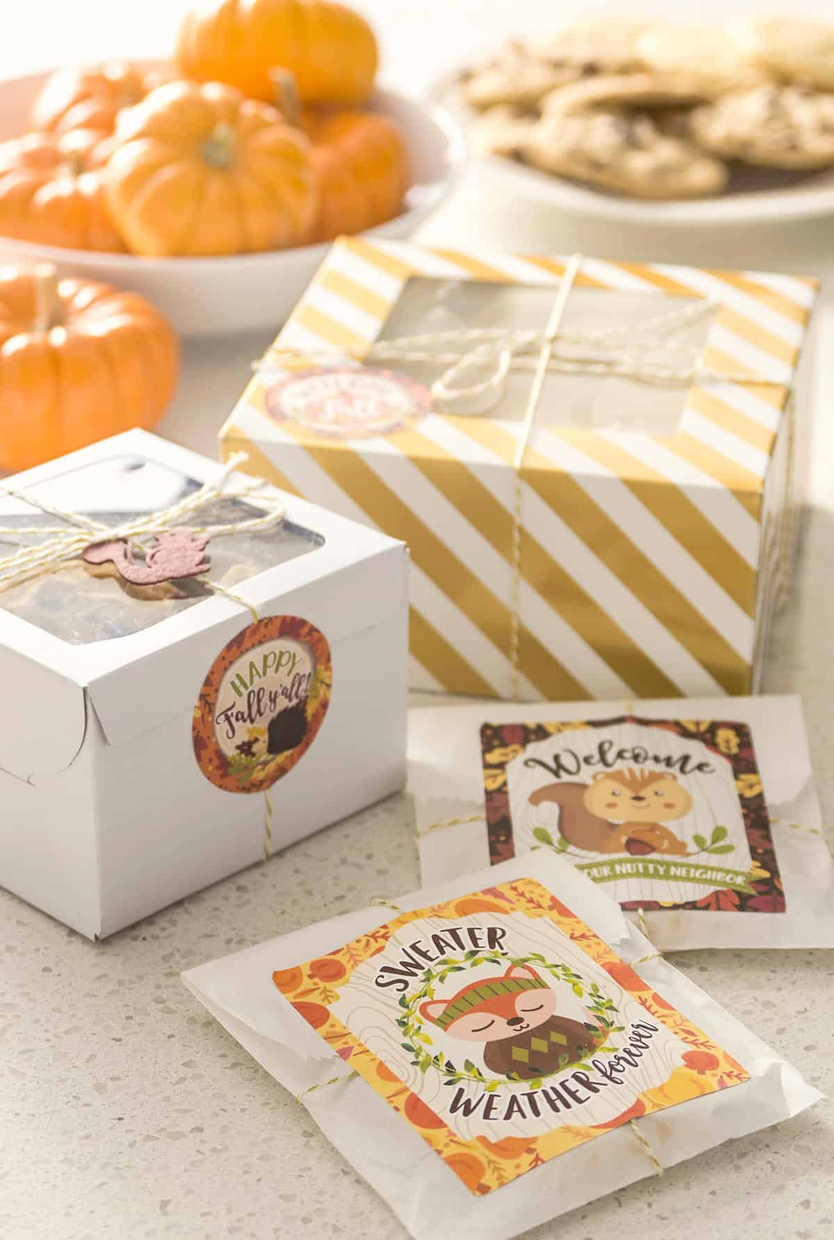 Easy Autumn Gifts for Neighbors with Free Printables