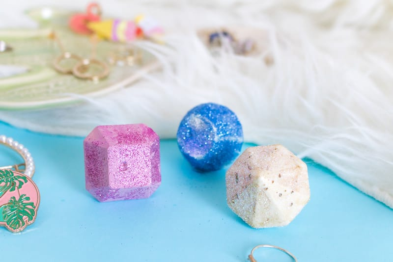 DIY glittery Mod Melts gem rings