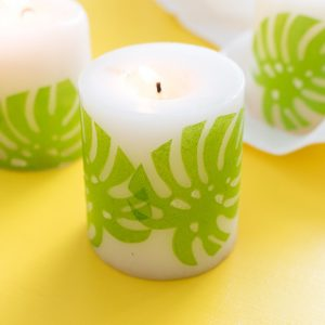 DIY tropical napkin decoupage candles