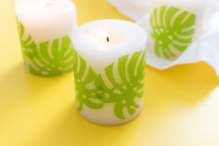 Tropical Napkin Decoupage Candles