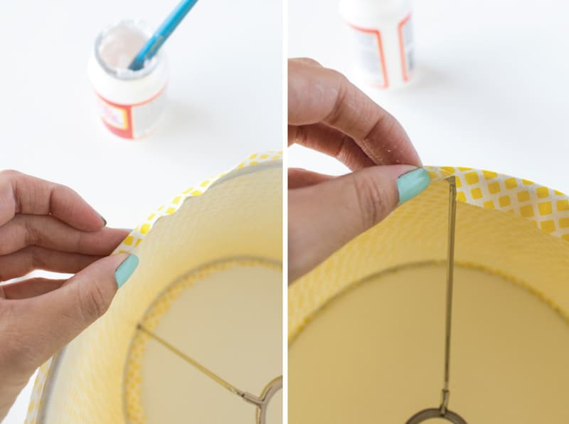 This lampshade makeover project takes less than 30 minutes and it's incredibly easy to do! Use your favorite fabric along with Mod Podge.