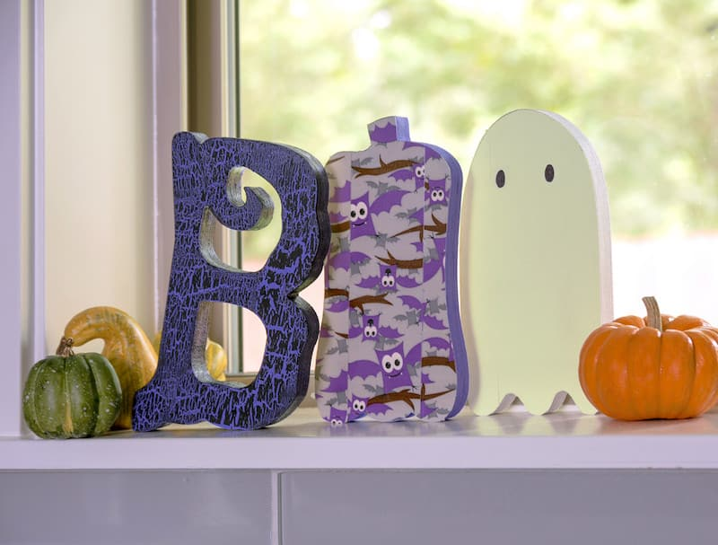 I decorated this wood Halloween decor with Duck Tape and paint in a short amount of time! These BOO letters are easy for kids and great for last minute.