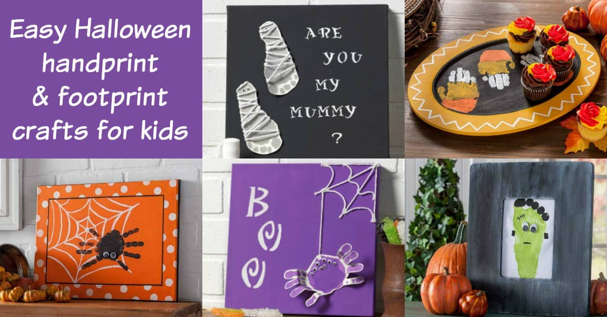 These are the cutest handprint crafts for kids ever - and they're for Halloween! Get some footprint ideas too. So fun and easy even toddlers can do them.