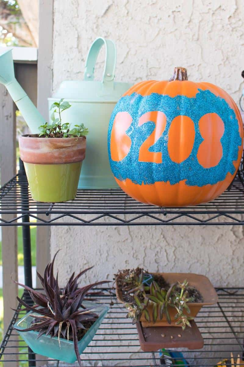 Glitter up a funkin to make this house number pumpkin! So easy to do with Mod Podge - customize with your favorite glitter color.