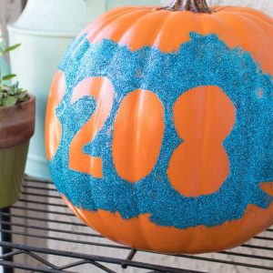 Glittery DIY house number pumpkin
