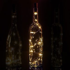 Fairy string light stopper for a wine bottle