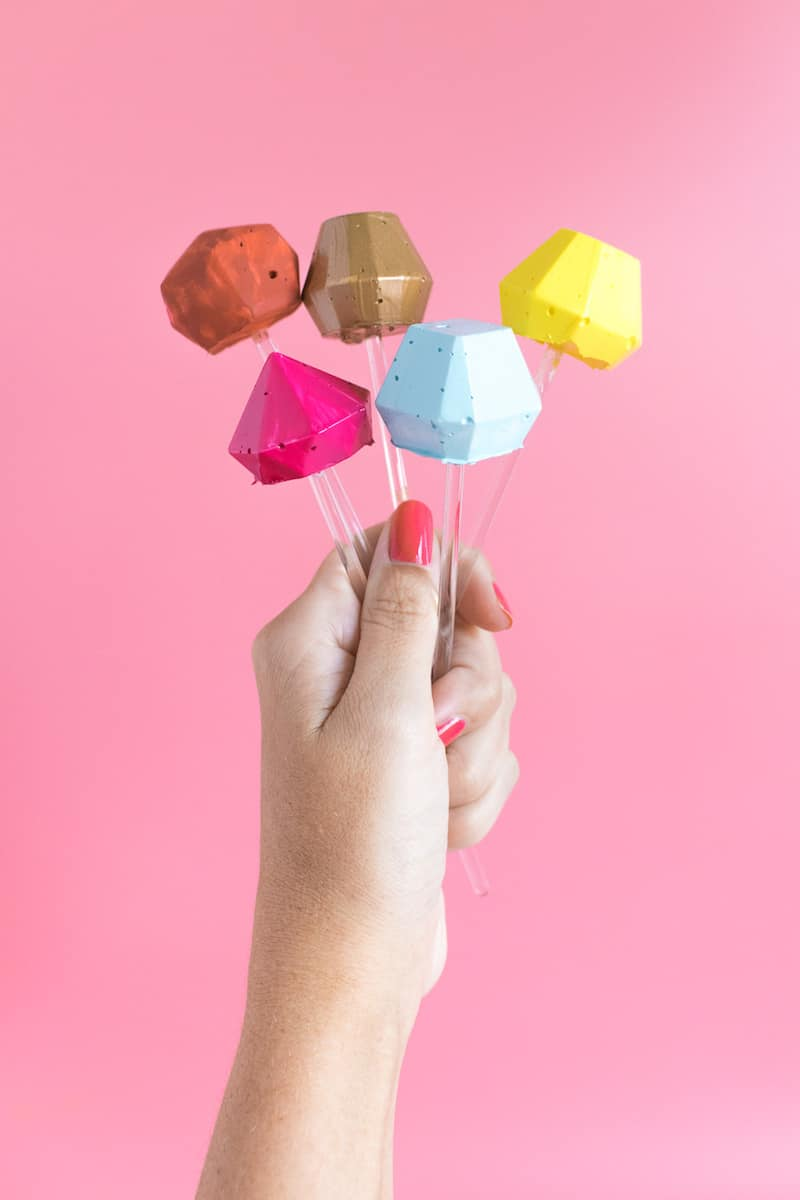 Colorful 3D Gem DIY Cocktail Stirrers