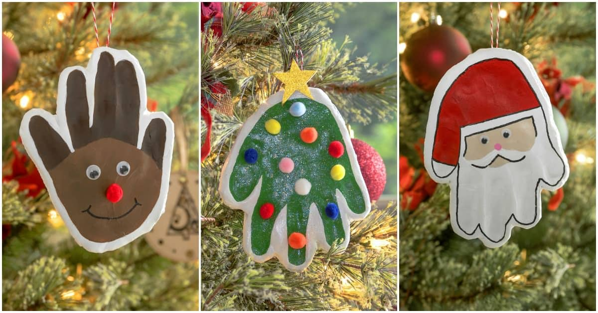 Learn the easiest way to make a handprint ornament! Handprint crafts are a favorite with small children! Make special memories with these three cute and easy Christmas craft ideas. So fun for kids and they make great gifts. Santa, Christmas tree, and Reindeer ornament options.