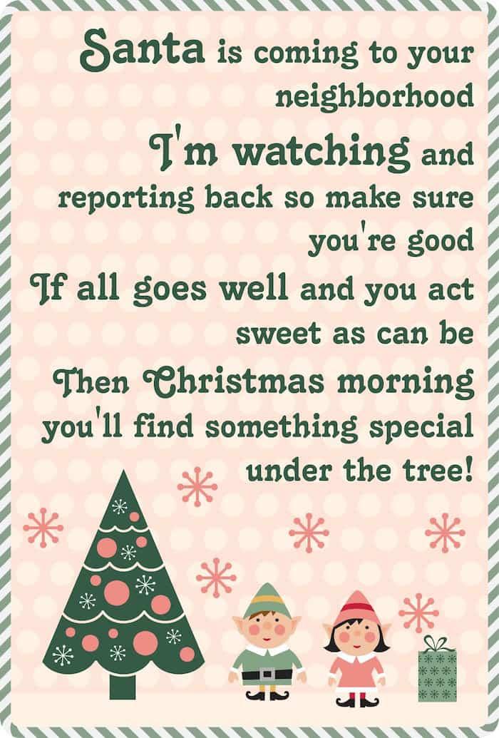 Elf on the shelf free Christmas poem printable