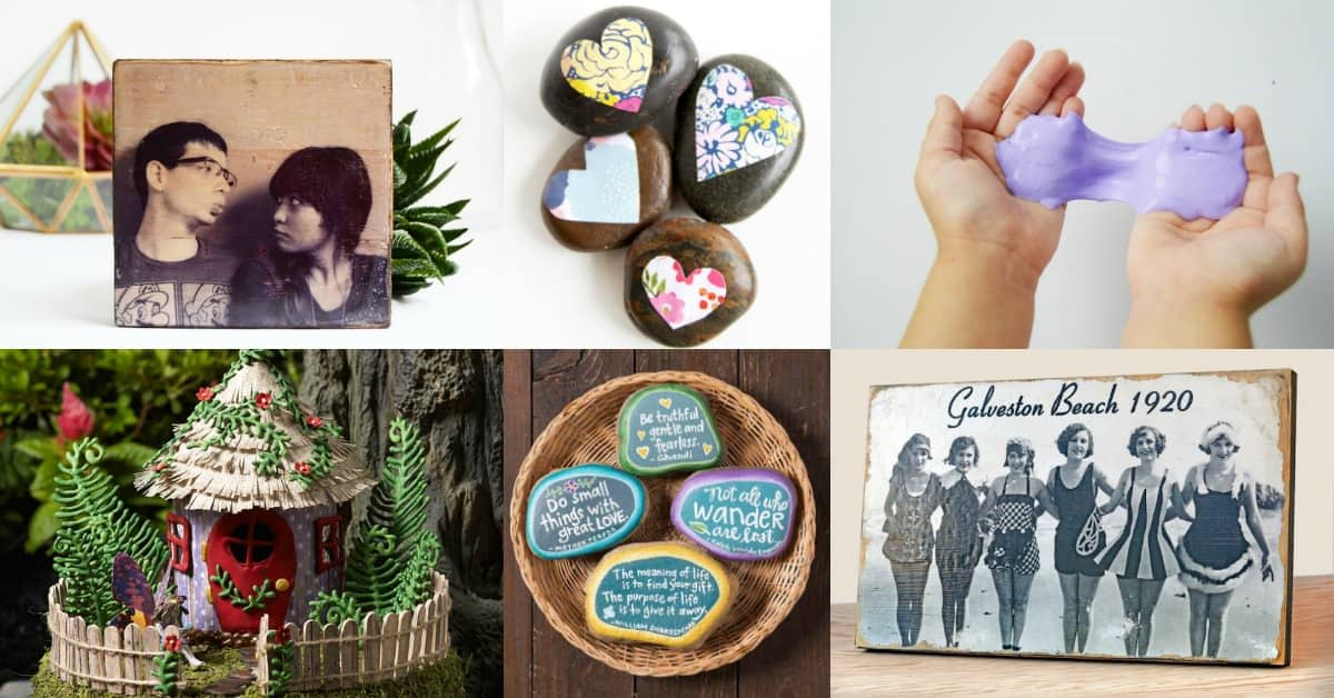 What were the top 10 Mod Podge projects of 2017? Find out here. There are some great ideas for decoupage crafts for everyone, including rock crafts and pictures on wood!
