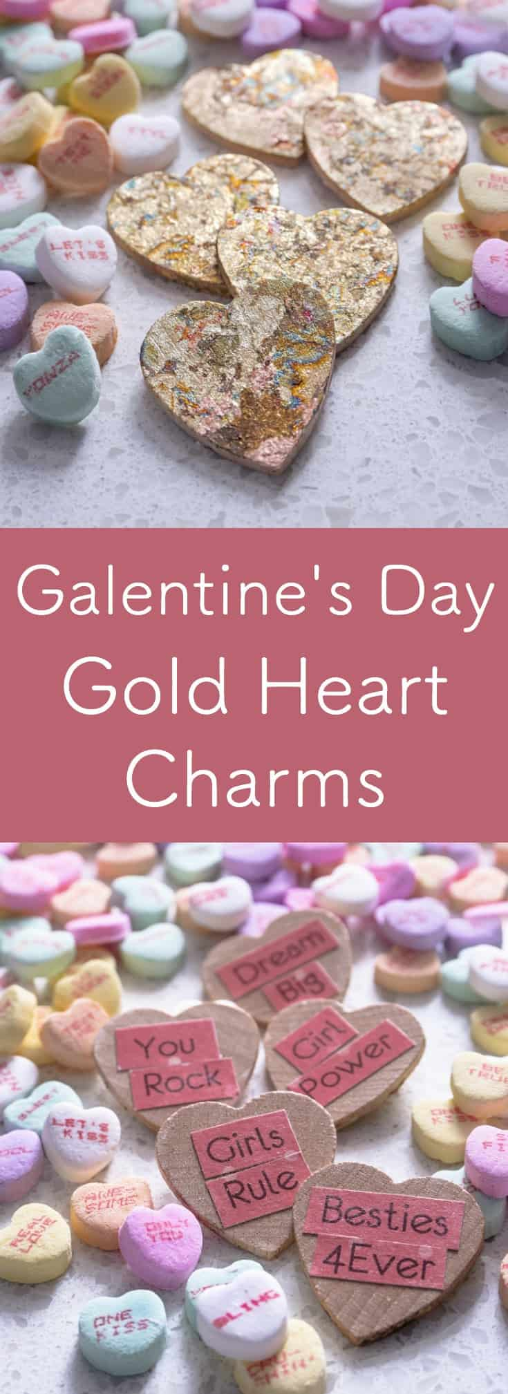 Show your besties how much you love and appreciate them with these DIY gold heart charms for Galentine's Day! They are really easy to make with Mod Podge. Perfect craft for Valentine's Day party favors - and so easy that kids can make them! Great gift for adults, for kids, for him, for her.
