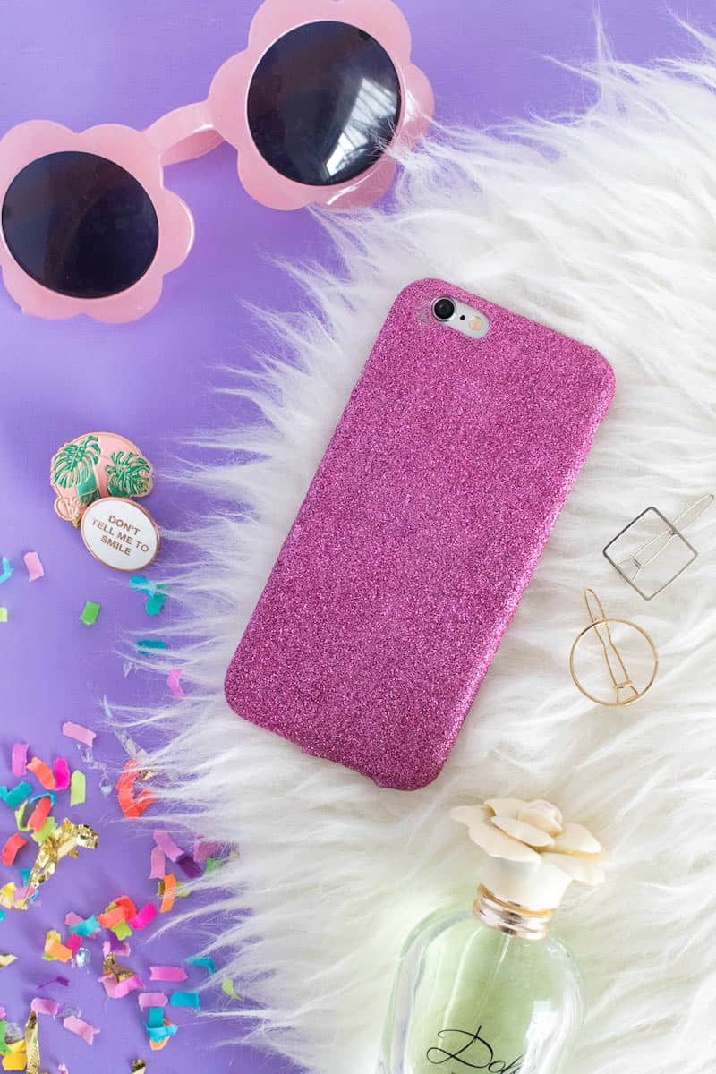 DIY glitter cell phone case