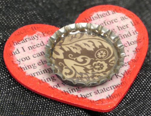 heart bottle cap pin for Valentine's Day