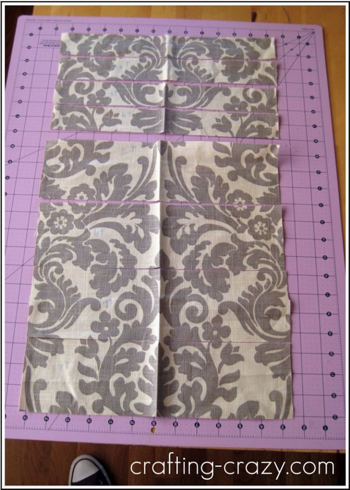 Fabric strips on a cutting mat