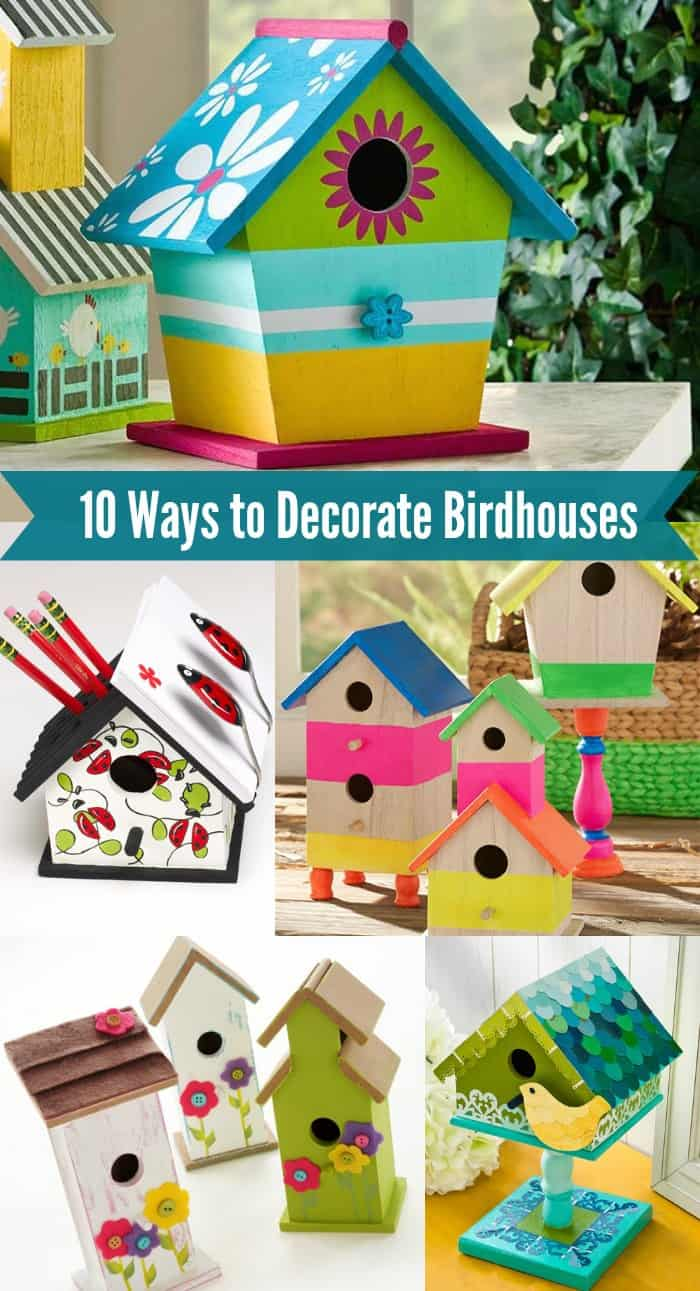 Make beautiful home decor - decorate birdhouses! Learn 10 techniques for decorating birdhouses with various items. Perfect for all skill levels, even beginners! Get tips for indoor or outdoor use.
