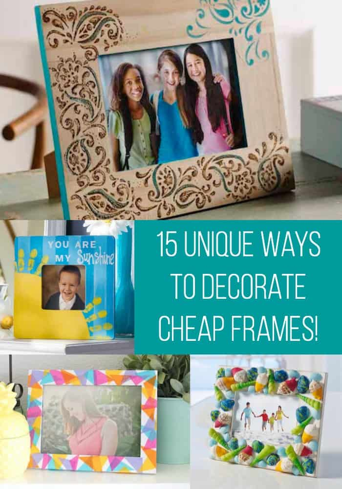 Learn 15 ways to decorate those cheap wooden picture frames from the craft store! These DIY picture frame ideas are incredibly easy and budget friendly. Makes a great gift for friends or unique home decor. Hang on the wall or place on a mantel or tabletop.