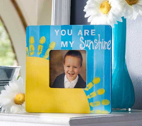 Handprint kids' painted picture frame