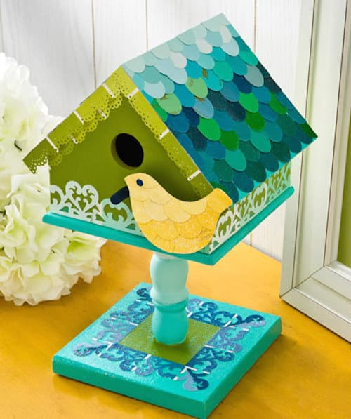 Decorate a birdhouse with paint chips
