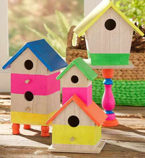 Decorate unfinished birdhouses with paint