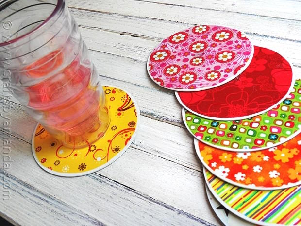 Recycled coasters from CDs