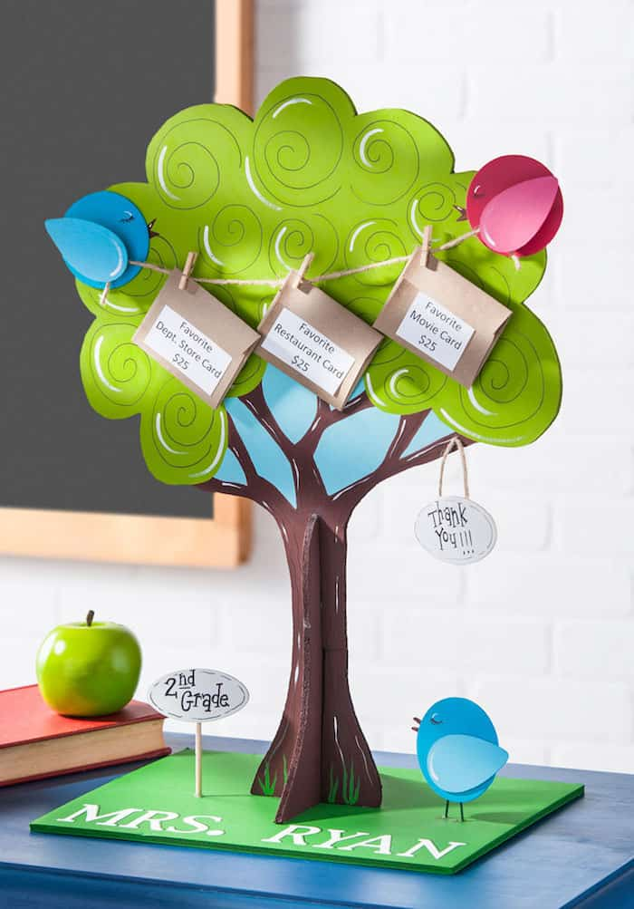 Teacher's Day gift - painted gift card tree