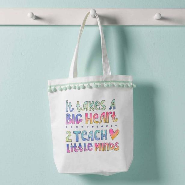 teacher gift ideas - DIY watercolor tote bag