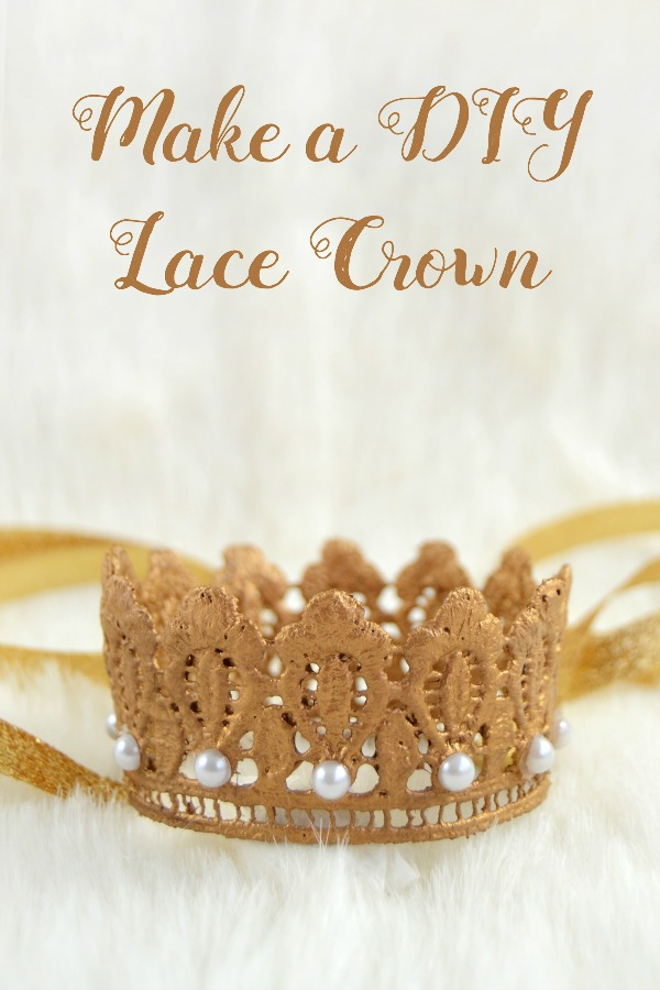 Use lace trim, paint, glitter and Mod Podge to make a DIY lace crown. These are perfect for a princess party or just for dress up! Add a ribbon or a headband. Great for newborn / baby photography, 1st birthdays . . . they make great photography props! Fun and easy to make.