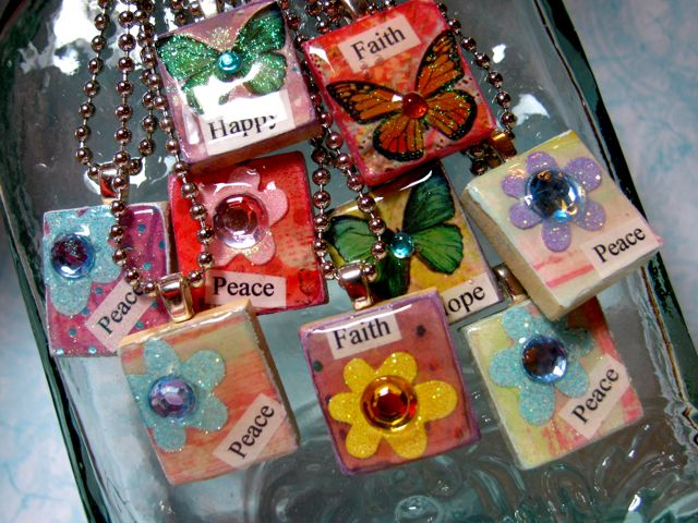 Mod Podge scrabble tile pendants