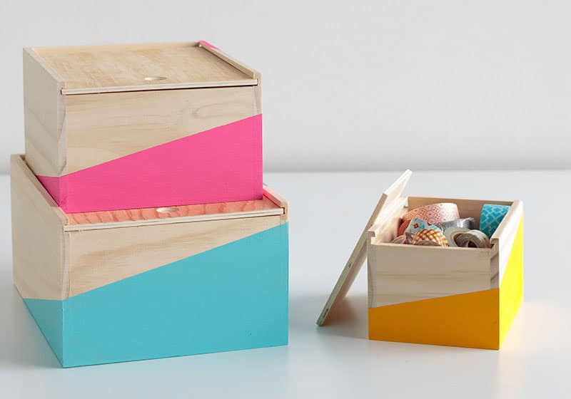 presents for teachers - DIY colorblocked painted boxes