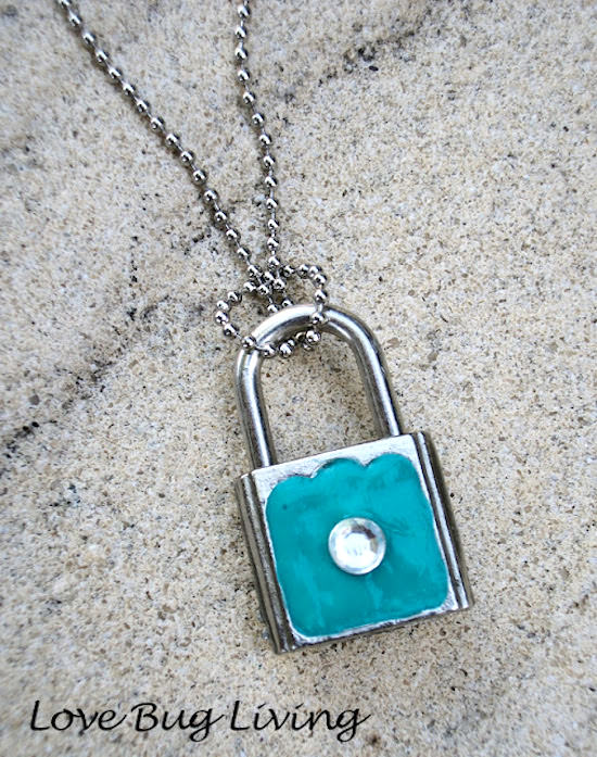 Tiffany inspired lock jewel necklace