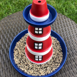 DIY bird feeder that looks like a lighthouse