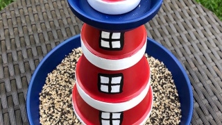 Lighthouse Bird Feeder with Terra Cotta Pots