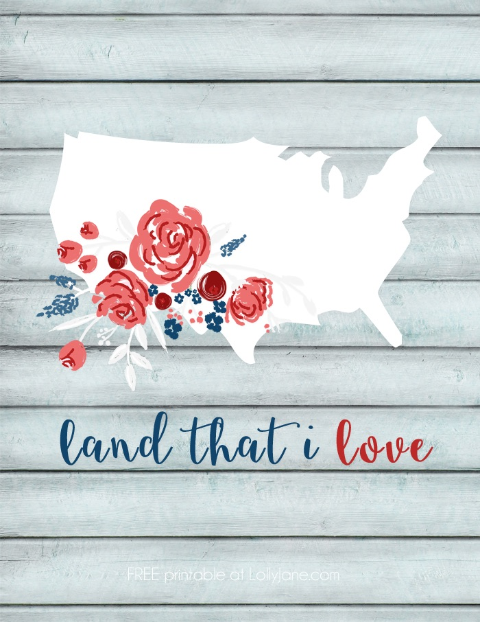 Free printable floral USA art