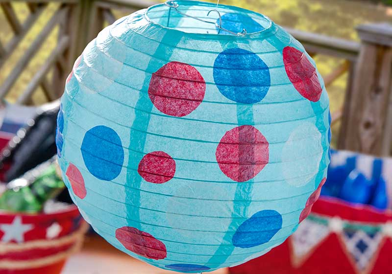 polka dot paper lantern for 4th of July