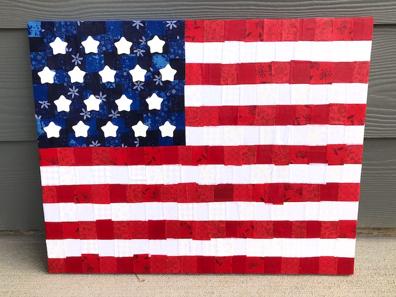 American Flag Canvas with Fabric and Mod Podge