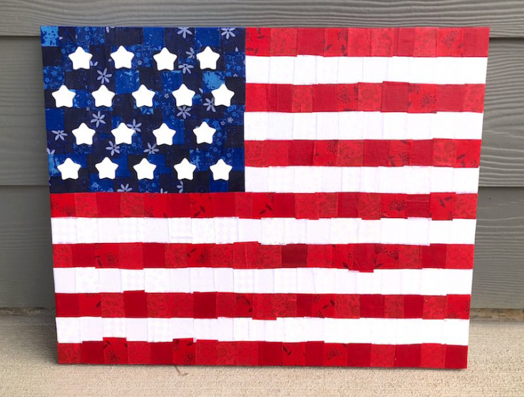American Flag Canvas with Fabric