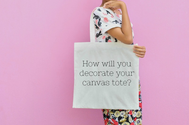 Decorating canvas tote bags