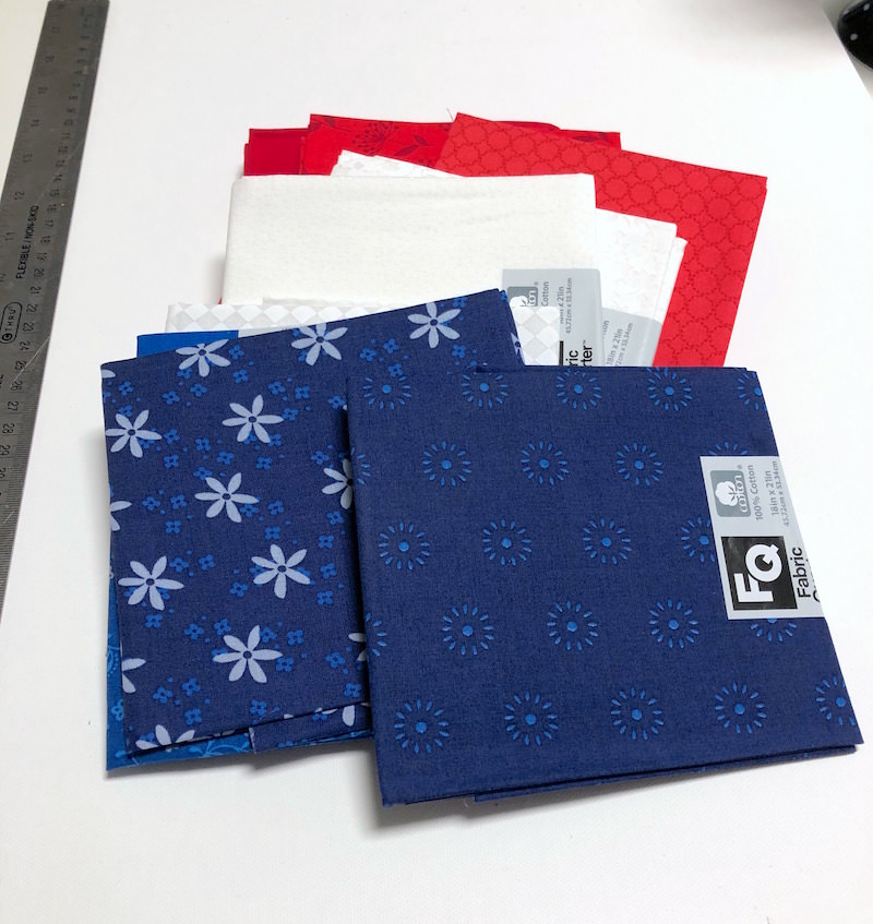 Fat quarters in patriotic colors