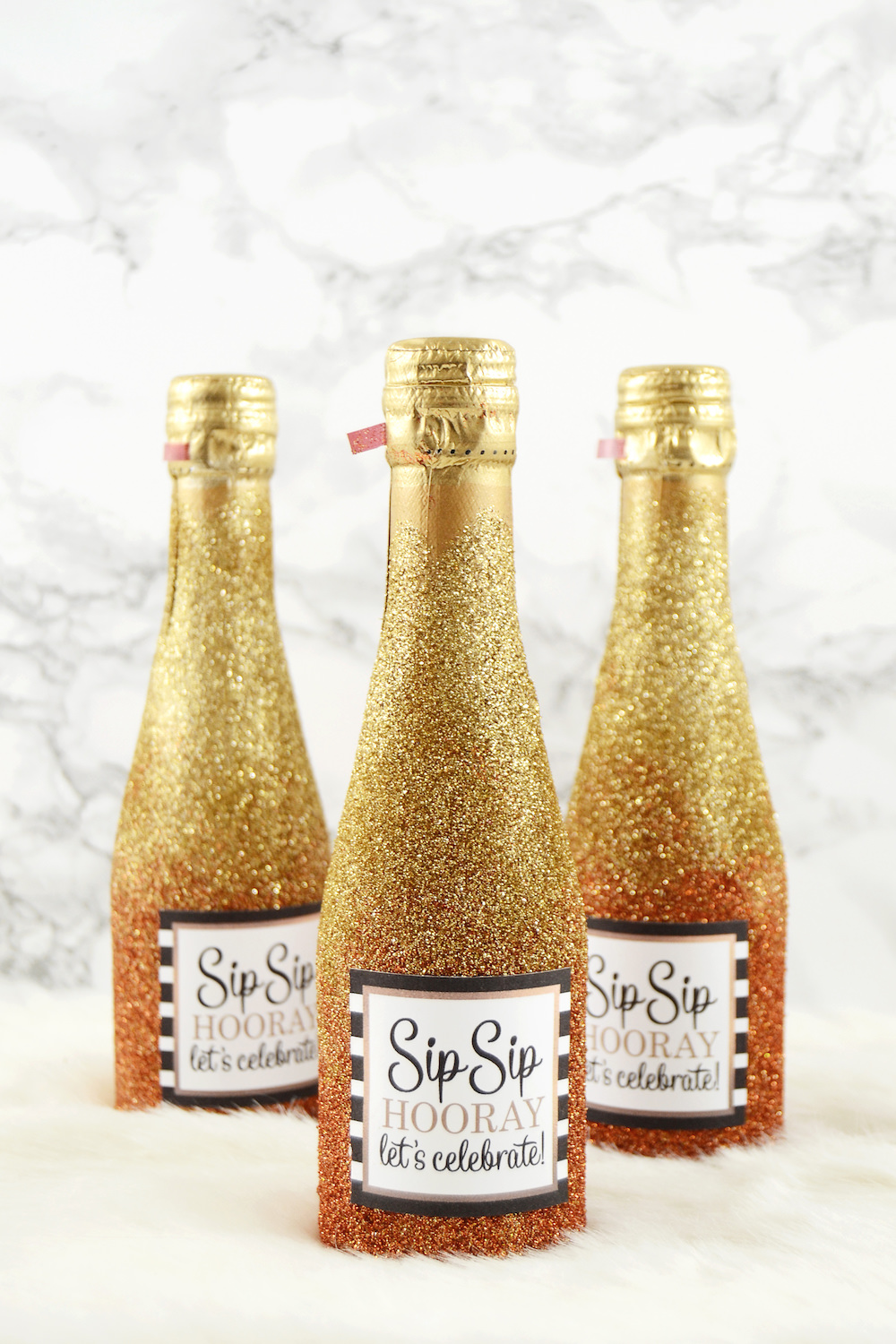 Glitter Mini Champagne Bottles - for Party or Wedding