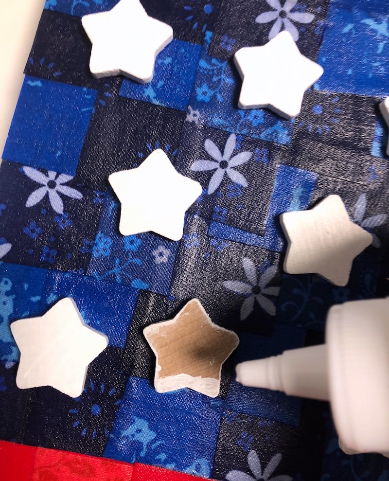 Gluing stars to canvas