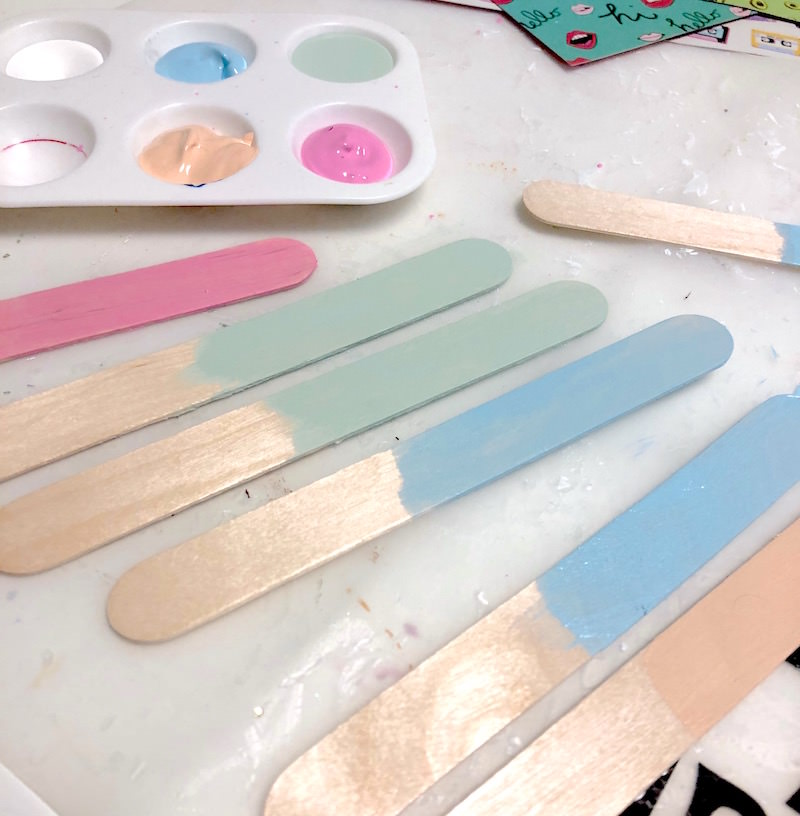 Paint the popsicle sticks with acrylic paint