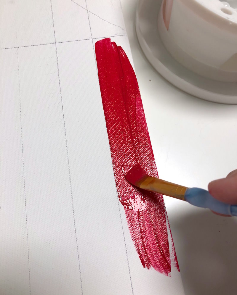 Painting the red stripes