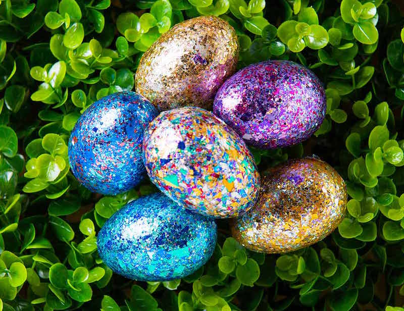 color shift and glitter easter eggs