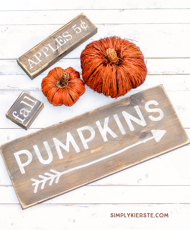 DIY pumpkin farmhouse signs for fall