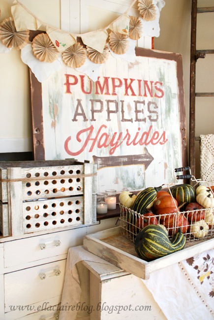 Pumpkins apples and hayrides DIY autumn sign