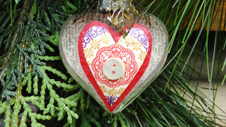 Collaged Heart Ornament
